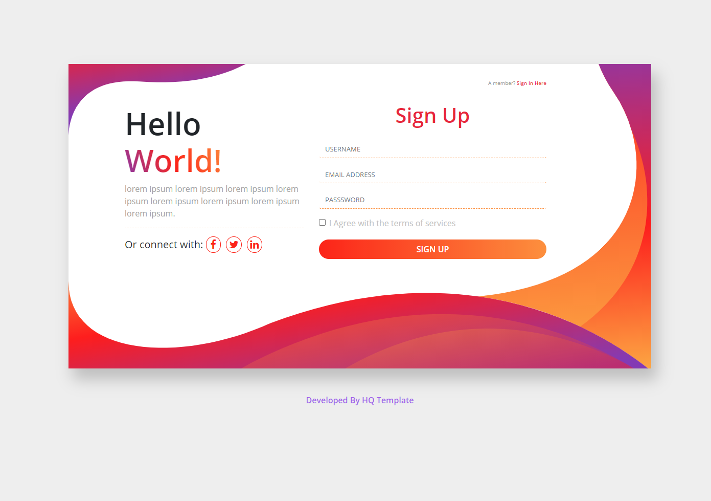 Register Page HTML Template