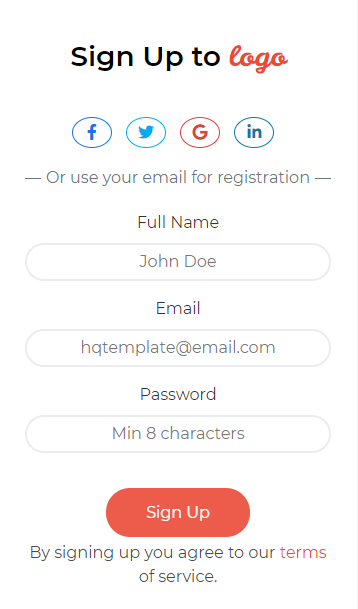 food Sign Up Page