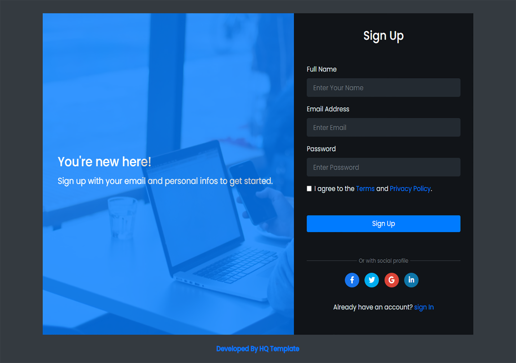 Sign Up Web Page